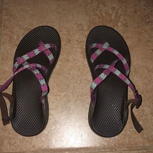 purple and blue authentic chaco sandals